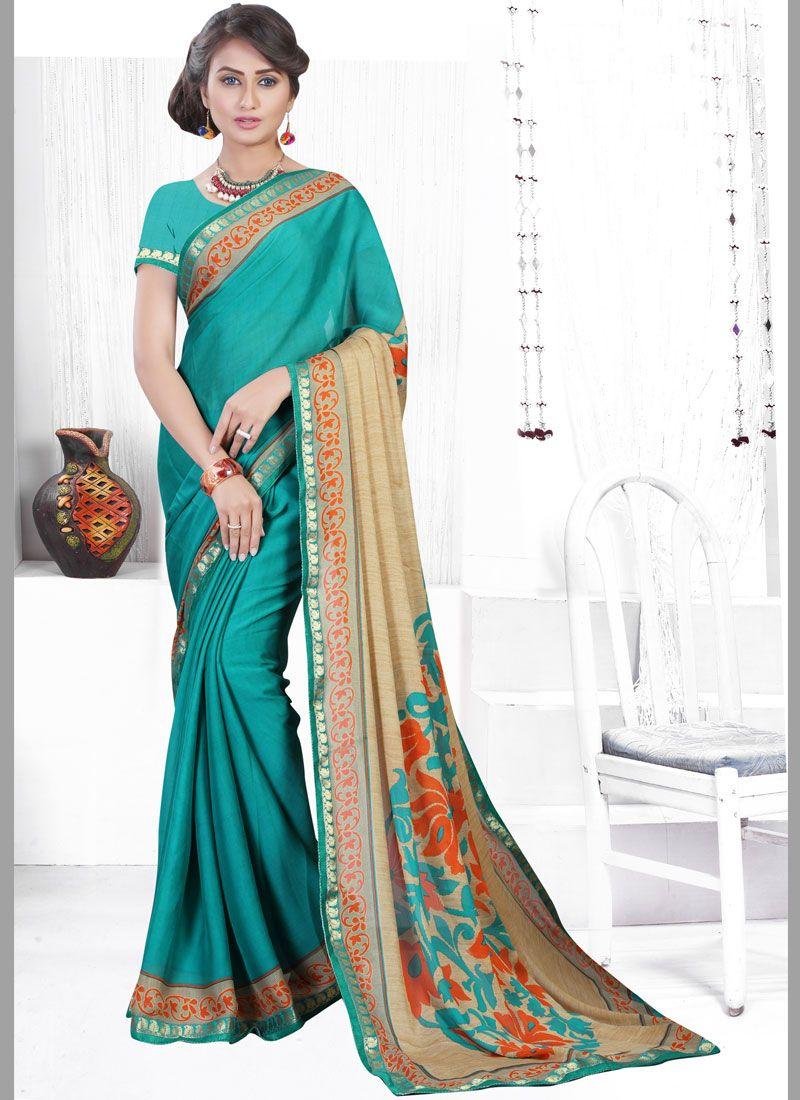 Sea Green Printed Saree