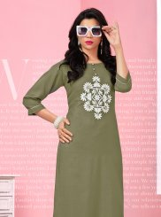 Sea Green Rayon Thread Work Party Wear Kurti