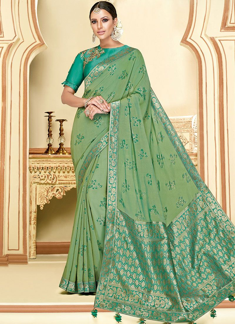 Sea Green Reception Silk Classic Designer Saree