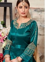 Sea Green Resham Art Silk Floor Length Anarkali Suit