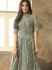 Sea Green Resham Net Floor Length Anarkali Suit