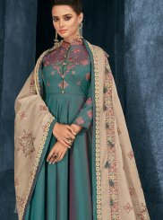 Sea Green Resham Readymade Suit