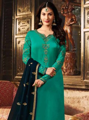Sea Green Resham Trendy Churidar Suit