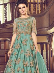 Sea Green Sangeet Net Anarkali Salwar Suit