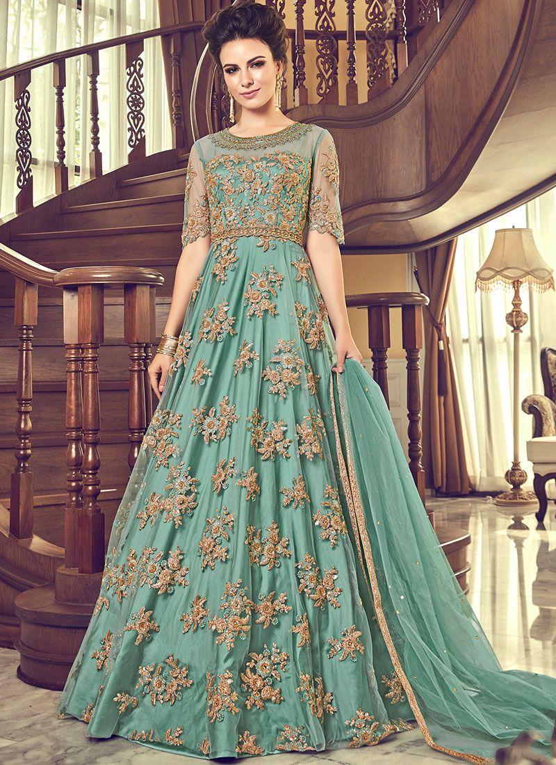 Sea Green Sangeet Net Anarkali Salwar Suit