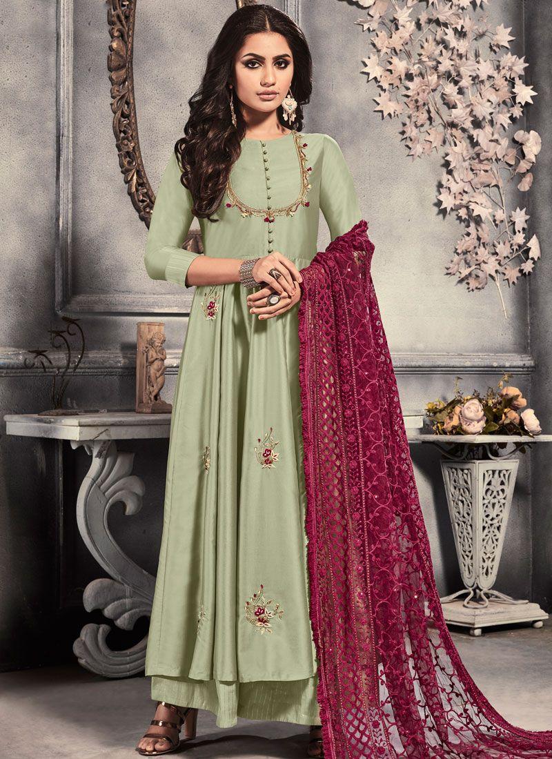 Sea Green Satin Anarkali Salwar Suit