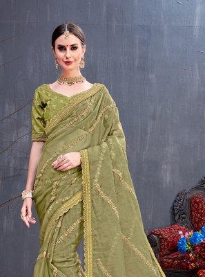 Sea Green Sequins Art Silk Traditional Saree