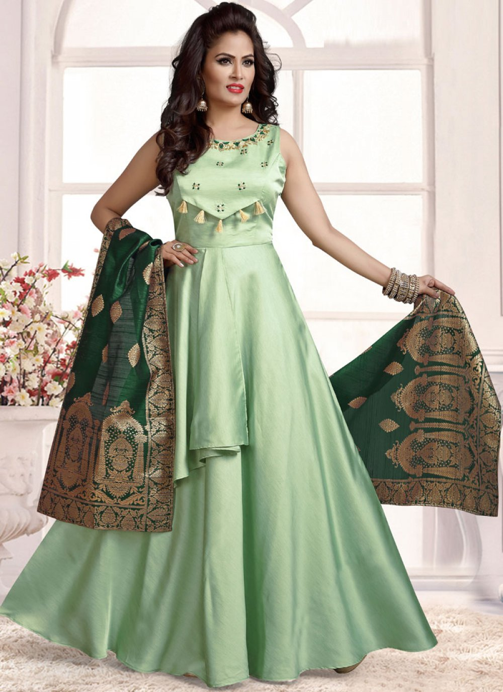 Sea Green Silk Anarkali Salwar Kameez