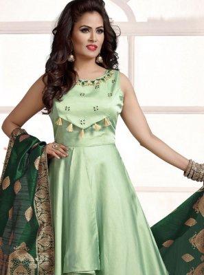 Sea Green Silk Anarkali Salwar Kameez