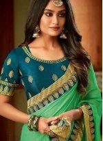 Sea Green Silk Party Classic Saree