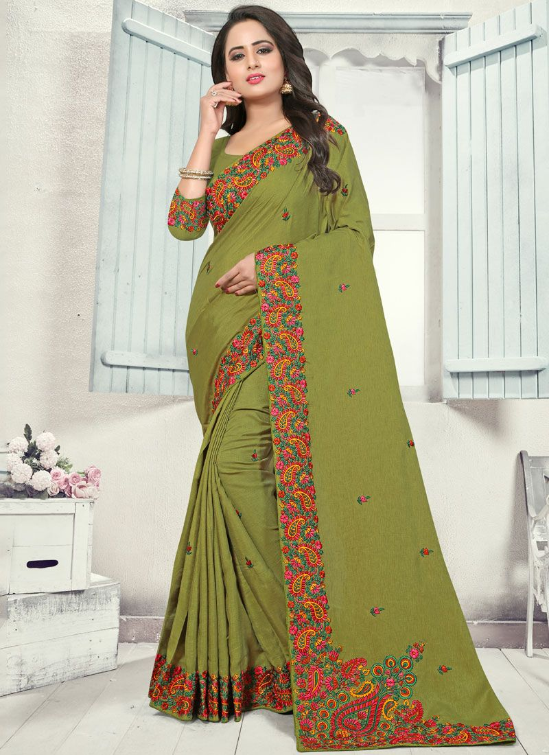 Sea Green Silk Party Designer Traditional Saree