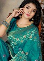 Sea Green Silk Silk Saree
