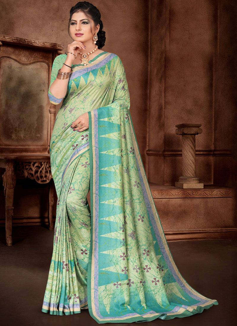 Sea Green Silk Trendy Saree