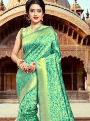 Sea Green Silk Weaving Classic Saree