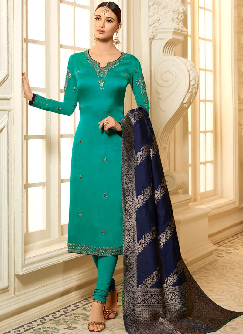 Sea Green Stone Ceremonial Churidar Designer Suit