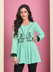 Sea Green Thread Work Casual Kurti