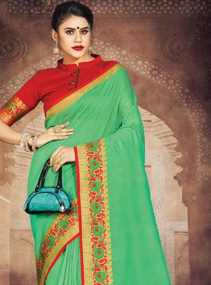 Sea Green Weaving Art Silk Casual Saree