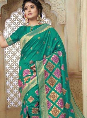 Sea Green Weaving Art Silk Designer Traditional Saree