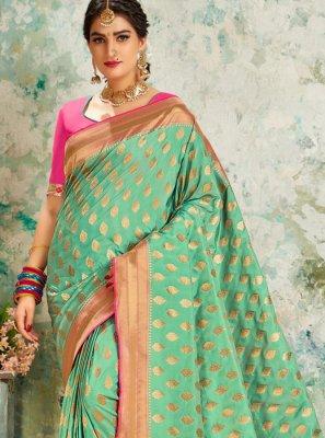 Sea Green Weaving Classic Designer Saree