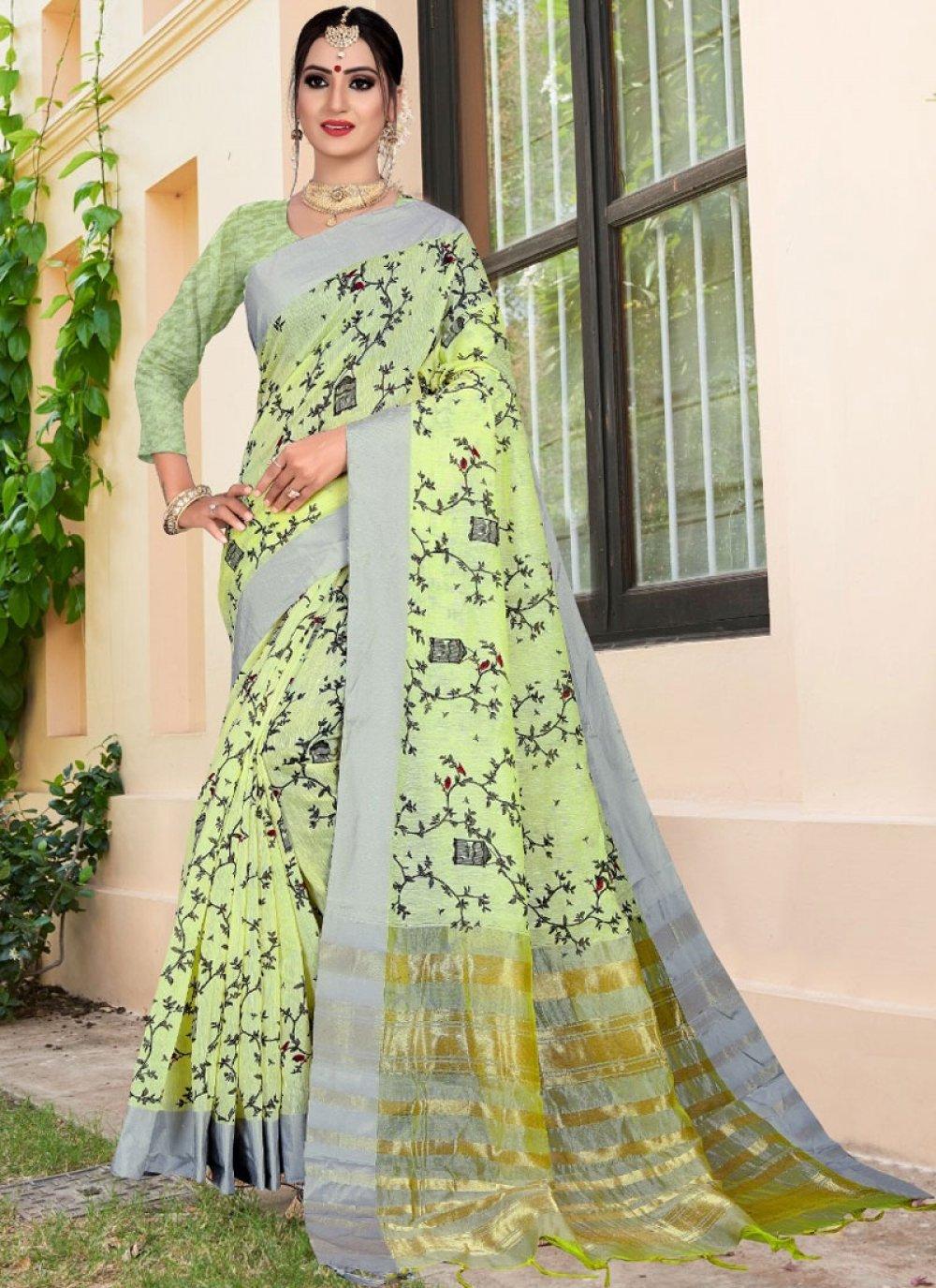 Sea Green Weaving Printed Saree