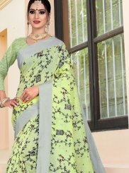 Sea Green Weaving Printed Saree