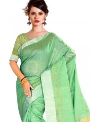 Sea Green Weaving Tussar Silk Casual Saree