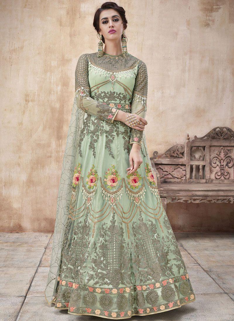 Sea Green Wedding Net Floor Length Anarkali Suit