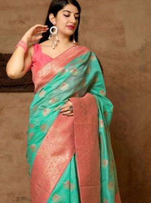 Sea Green Woven Art Silk Designer Traditional Saree