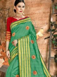 Sea Green Woven Cotton Traditional Saree
