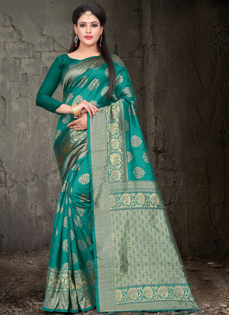Sea Green Woven Festival Traditional Designer Saree