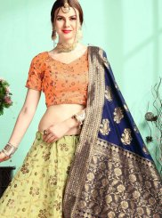 Sea Green Zari Satin Trendy Designer Lehenga Choli