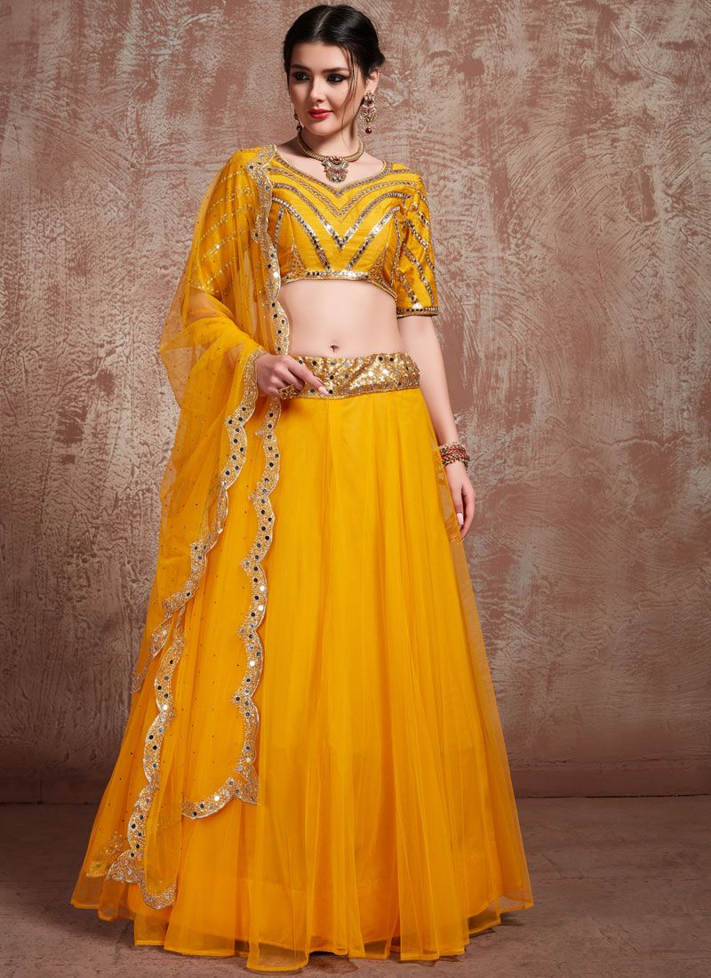 Sequins Net Trendy Lehenga Choli in Mustard