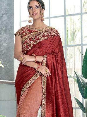 Sequins Peach and Red Classic Designer Saree