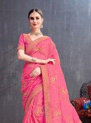 Sequins Pink Art Silk Traditional Saree