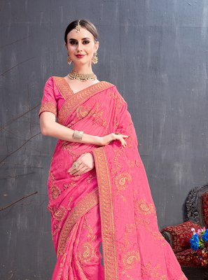 Sequins Pink Art Silk Traditional Saree