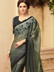 Shaded Saree Embroidered Art Silk in Black and Grey