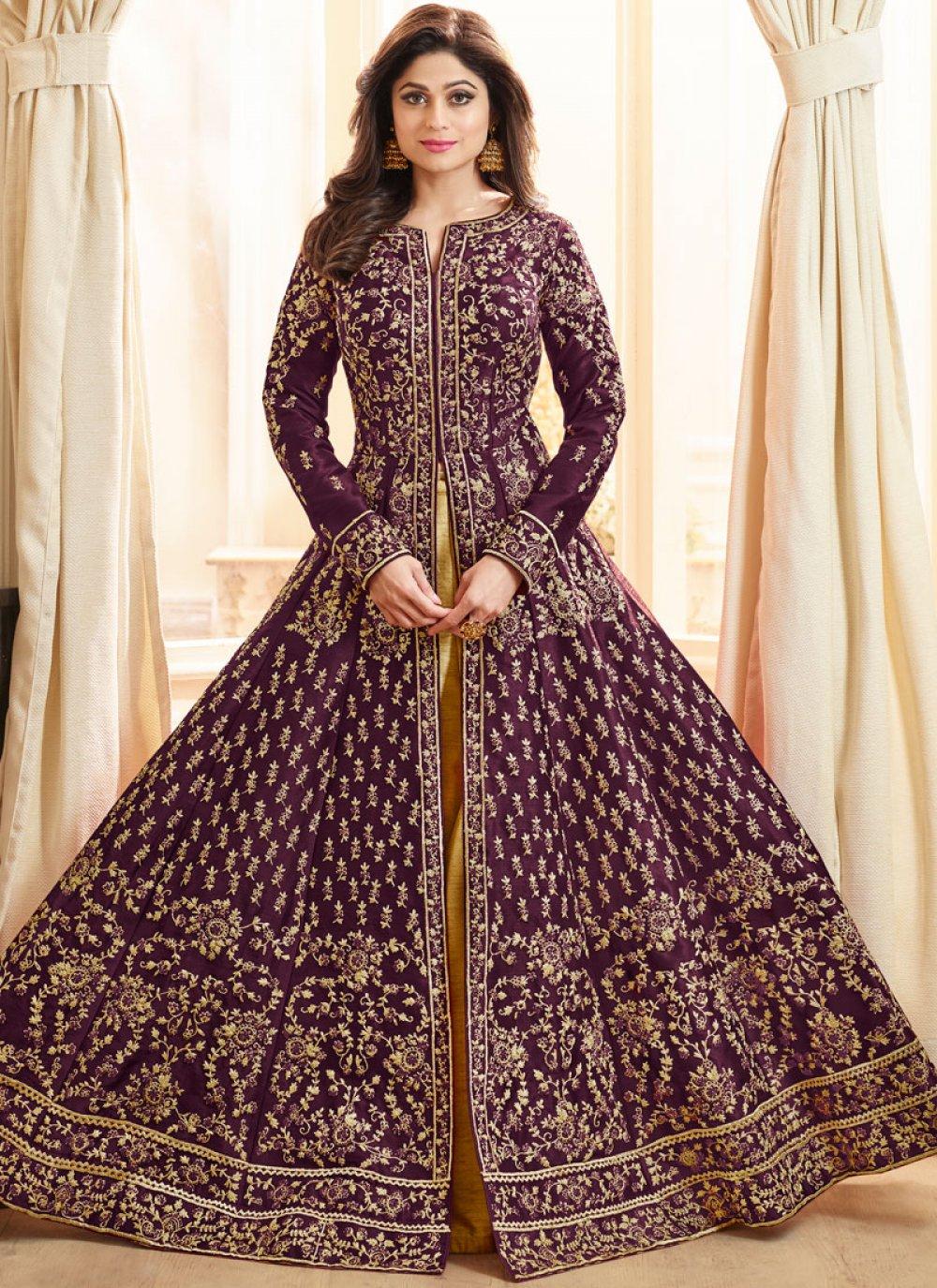 Shamita Shetty Art Silk Embroidered Long Choli Lehenga