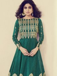 Shamita Shetty Art Silk Sea Green Embroidered Floor Length Anarkali Suit