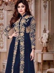 Shamita Shetty Blue Anarkali Salwar Kameez