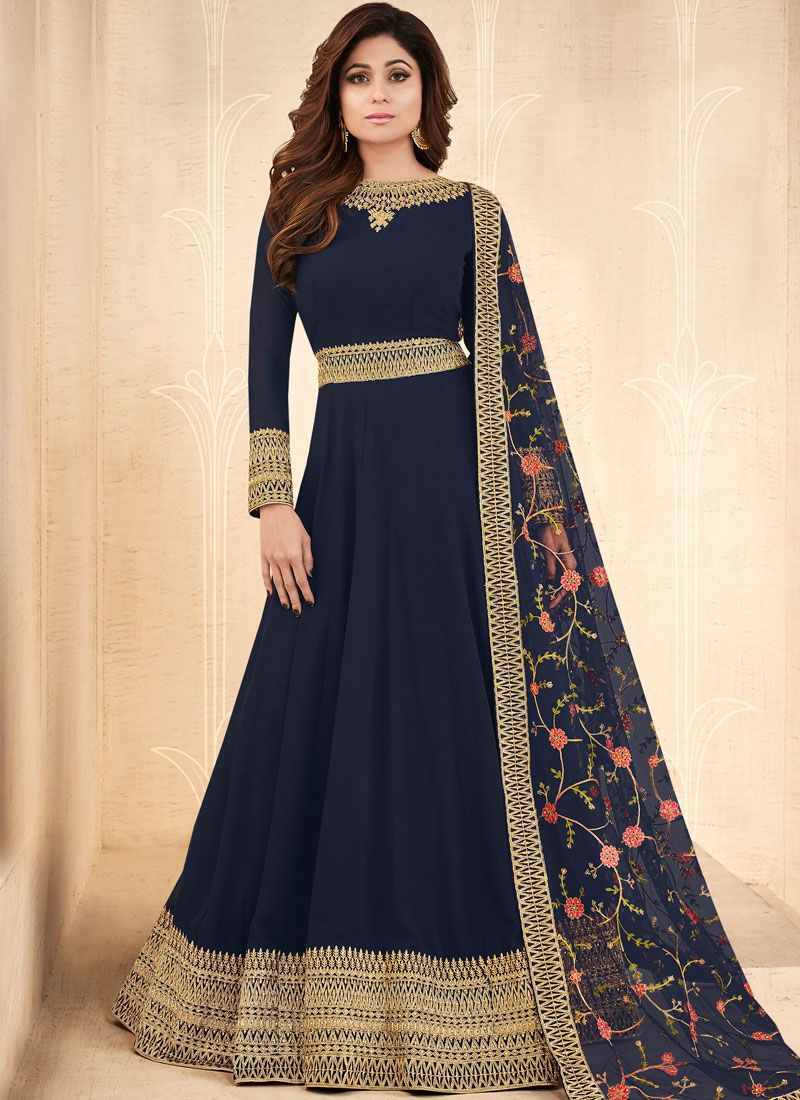 Shamita Shetty Blue Embroidered Floor Length Anarkali Suit