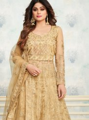 Shamita Shetty Embroidered Cream Designer Kameez Style Lehenga Choli