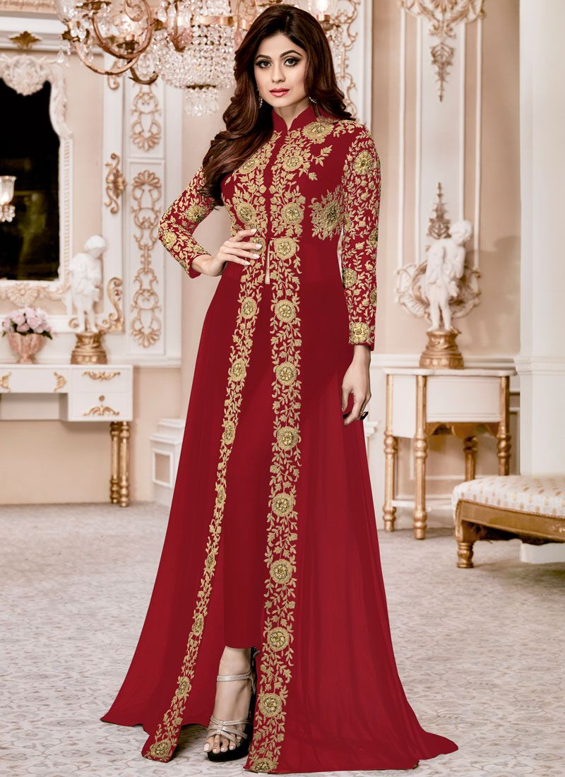 Shamita Shetty Faux Georgette Designer Suit