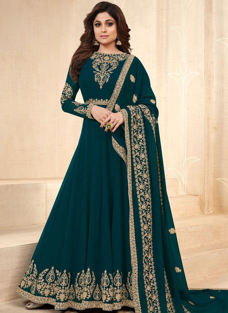Shamita Shetty Faux Georgette Floor Length Anarkali Suit