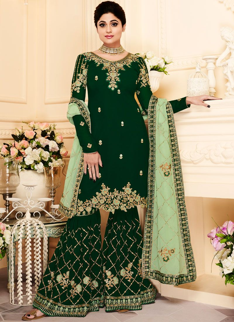 Shamita Shetty Faux Georgette Green Designer Pakistani Suit