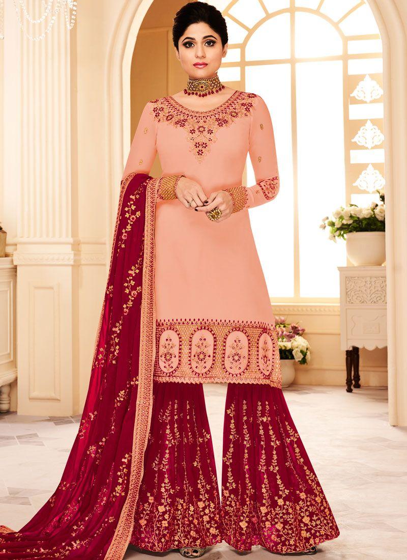 Shamita Shetty Faux Georgette Pink Designer Pakistani Suit