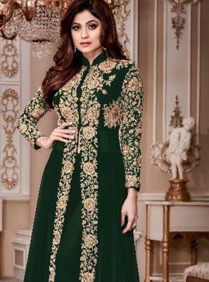 Shamita Shetty Green Faux Georgette Resham Work Anarkali Salwar Suit