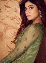Shamita Shetty Green Floor Length Anarkali Suit