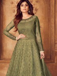 Shamita Shetty Green Floor Length Anarkali Suit