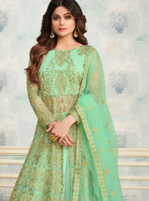 Shamita Shetty Green Satin Embroidered Trendy Designer Lehenga Choli