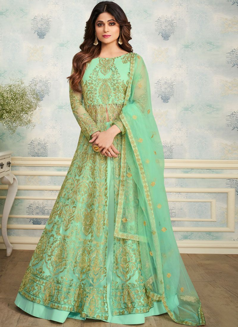 Shamita Shetty Green Satin Embroidered Trendy Designer Lehenga Choli